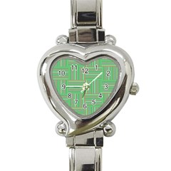 Geometric Pinstripes Shapes Hues Heart Italian Charm Watch