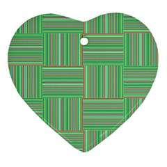 Geometric Pinstripes Shapes Hues Heart Ornament (Two Sides)