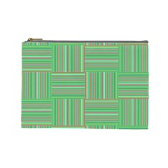 Geometric Pinstripes Shapes Hues Cosmetic Bag (Large)