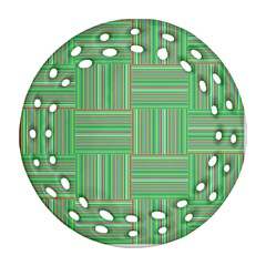 Geometric Pinstripes Shapes Hues Ornament (Round Filigree)