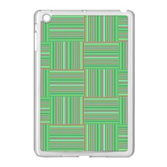 Geometric Pinstripes Shapes Hues Apple iPad Mini Case (White)