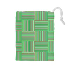 Geometric Pinstripes Shapes Hues Drawstring Pouches (Large)