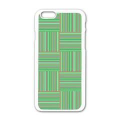 Geometric Pinstripes Shapes Hues Apple iPhone 6/6S White Enamel Case