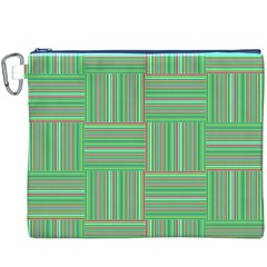 Geometric Pinstripes Shapes Hues Canvas Cosmetic Bag (XXXL)