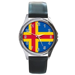 Flag of Aland Round Metal Watch