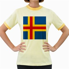 Flag of Aland Women s Fitted Ringer T-Shirts