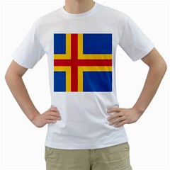 Flag of Aland Men s T-Shirt (White) (Two Sided)