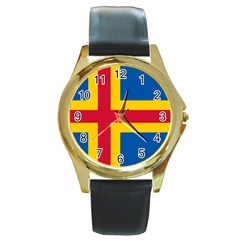 Flag of Aland Round Gold Metal Watch