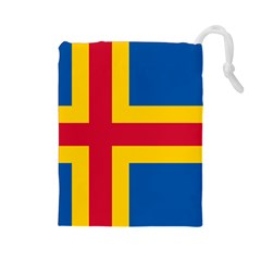 Flag Of Aland Drawstring Pouches (large)
