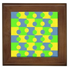 Abric Cotton Bright Blue Lime Framed Tiles