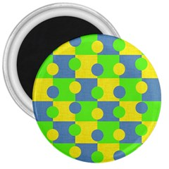 Abric Cotton Bright Blue Lime 3  Magnets
