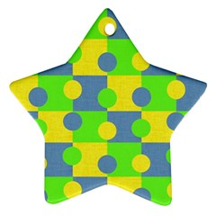 Abric Cotton Bright Blue Lime Ornament (star)
