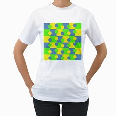Abric Cotton Bright Blue Lime Women s T Shirt (white) (two Sided)