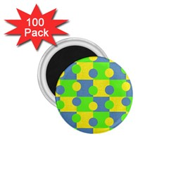 Abric Cotton Bright Blue Lime 1 75  Magnets (100 Pack)