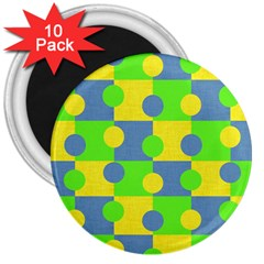 Abric Cotton Bright Blue Lime 3  Magnets (10 pack)