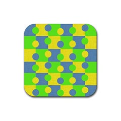 Abric Cotton Bright Blue Lime Rubber Coaster (Square)