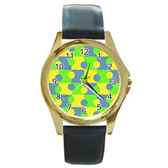 Abric Cotton Bright Blue Lime Round Gold Metal Watch