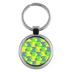 Abric Cotton Bright Blue Lime Key Chains (round)