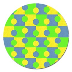 Abric Cotton Bright Blue Lime Magnet 5  (Round)