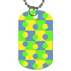 Abric Cotton Bright Blue Lime Dog Tag (one Side)