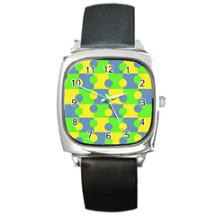 Abric Cotton Bright Blue Lime Square Metal Watch
