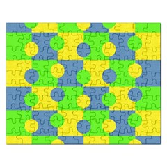 Abric Cotton Bright Blue Lime Rectangular Jigsaw Puzzl