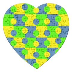 Abric Cotton Bright Blue Lime Jigsaw Puzzle (Heart)