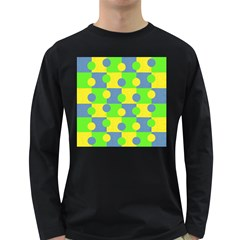 Abric Cotton Bright Blue Lime Long Sleeve Dark T-Shirts