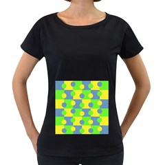 Abric Cotton Bright Blue Lime Women s Loose-Fit T-Shirt (Black)