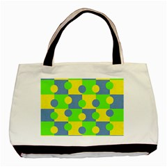 Abric Cotton Bright Blue Lime Basic Tote Bag