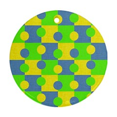 Abric Cotton Bright Blue Lime Round Ornament (Two Sides)