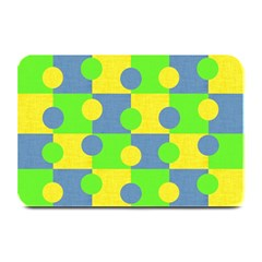 Abric Cotton Bright Blue Lime Plate Mats