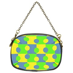 Abric Cotton Bright Blue Lime Chain Purses (two Sides)