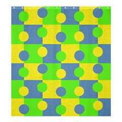 Abric Cotton Bright Blue Lime Shower Curtain 66  X 72  (large)