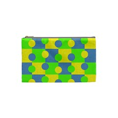 Abric Cotton Bright Blue Lime Cosmetic Bag (Small)
