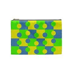 Abric Cotton Bright Blue Lime Cosmetic Bag (Medium)