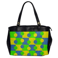 Abric Cotton Bright Blue Lime Office Handbags