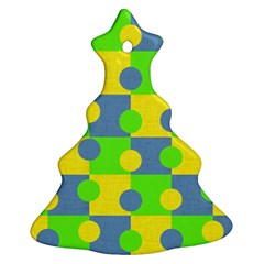 Abric Cotton Bright Blue Lime Christmas Tree Ornament (two Sides)