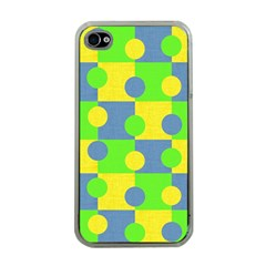 Abric Cotton Bright Blue Lime Apple Iphone 4 Case (clear)