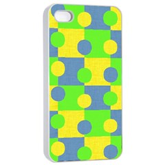 Abric Cotton Bright Blue Lime Apple iPhone 4/4s Seamless Case (White)