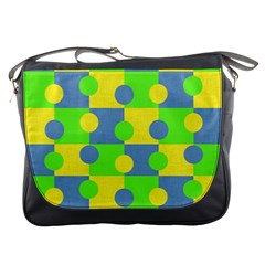 Abric Cotton Bright Blue Lime Messenger Bags