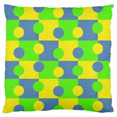 Abric Cotton Bright Blue Lime Large Cushion Case (One Side)
