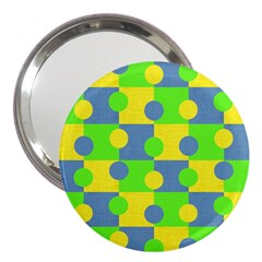 Abric Cotton Bright Blue Lime 3  Handbag Mirrors