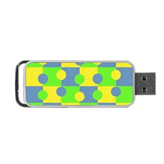 Abric Cotton Bright Blue Lime Portable USB Flash (One Side)