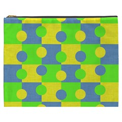 Abric Cotton Bright Blue Lime Cosmetic Bag (XXXL)