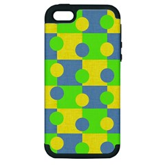 Abric Cotton Bright Blue Lime Apple Iphone 5 Hardshell Case (pc+silicone)