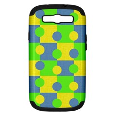 Abric Cotton Bright Blue Lime Samsung Galaxy S III Hardshell Case (PC+Silicone)