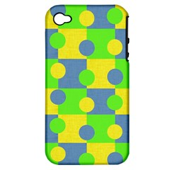 Abric Cotton Bright Blue Lime Apple iPhone 4/4S Hardshell Case (PC+Silicone)