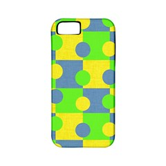 Abric Cotton Bright Blue Lime Apple Iphone 5 Classic Hardshell Case (pc+silicone)