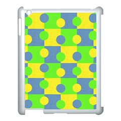 Abric Cotton Bright Blue Lime Apple iPad 3/4 Case (White)